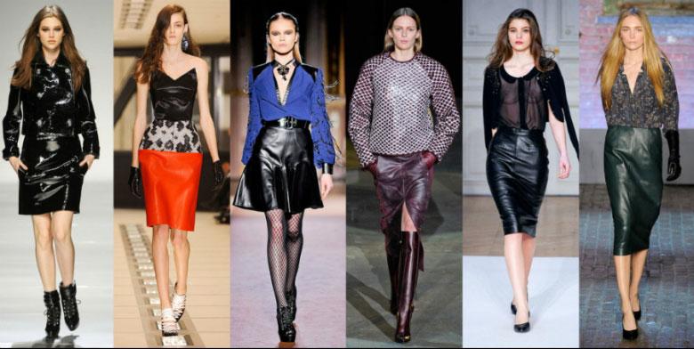 Цветные кожаные юбки 2017-2018