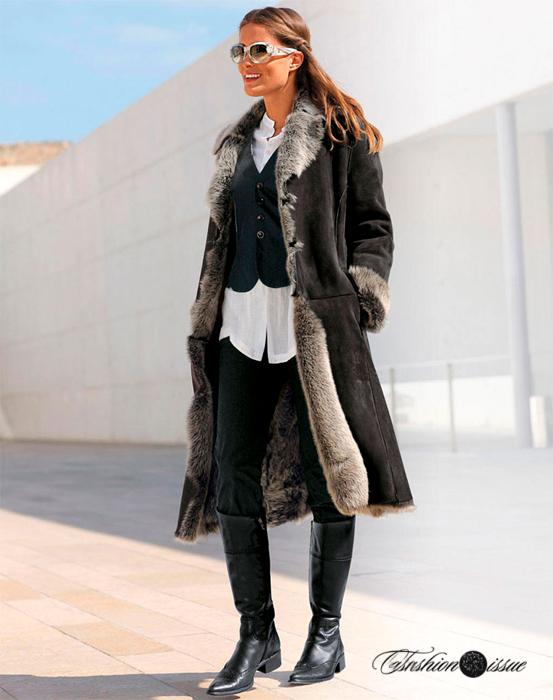 модные длинные женские дубленки 2018 фото