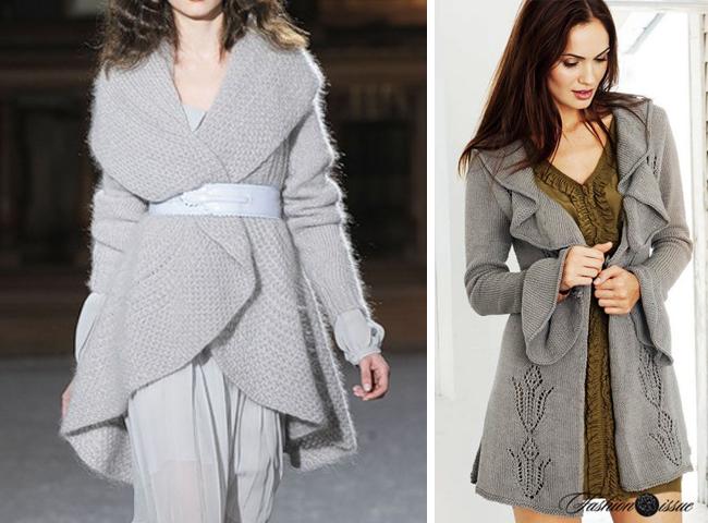 Модное вязанное пальто