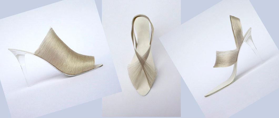 Необычная обувь: женские туфельки из шёлковой нити