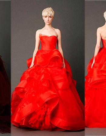 Красные свадебные платья с показа коллекции Веры Вонг (Vera Wang)