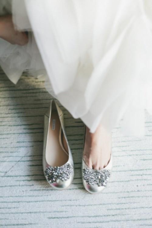 кожаные свадебные балетки