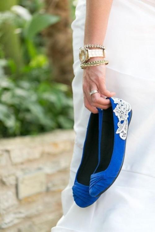 нежно голубые свадебные балетки