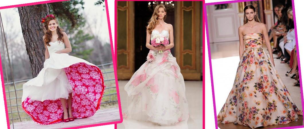 Фото свадебных платьев с цветочным принтом (с цветами) из коллекций 2018 года