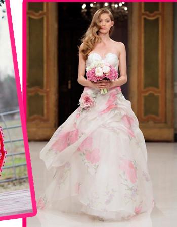 Фото свадебных платьев с цветочным принтом (с цветами) из коллекций 2017 года