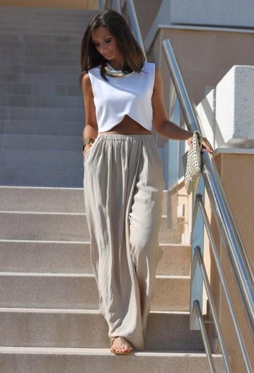 летние белый брюки с завышенной талией