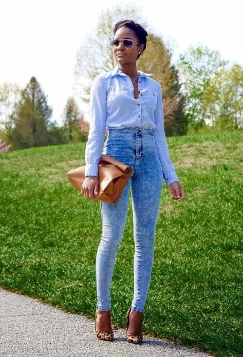 брюки с завышенной талией с топом