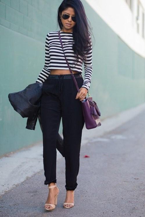 черные шелковые брюки с завышенной талией