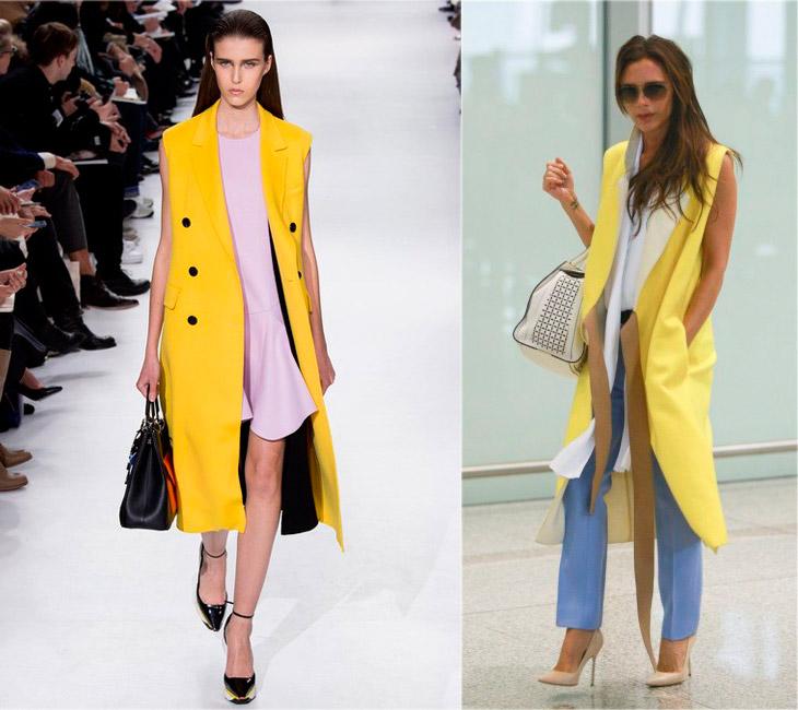 желтое пальто без рукавов