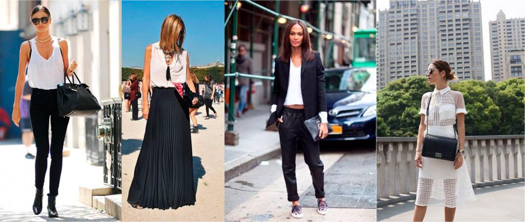 Подборка фото образов  чёрно-белой моды