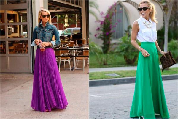 сиреневая, зеленая длинная юбка в пол
