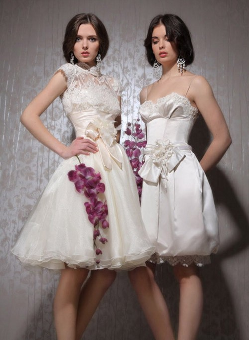 кружевное короткое свадебное платье: коллекция 2018 фото 25