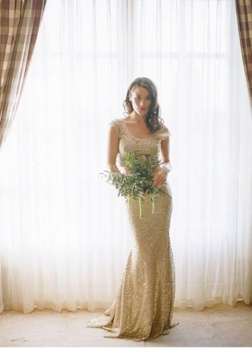 элегантное золотое свадебное платье