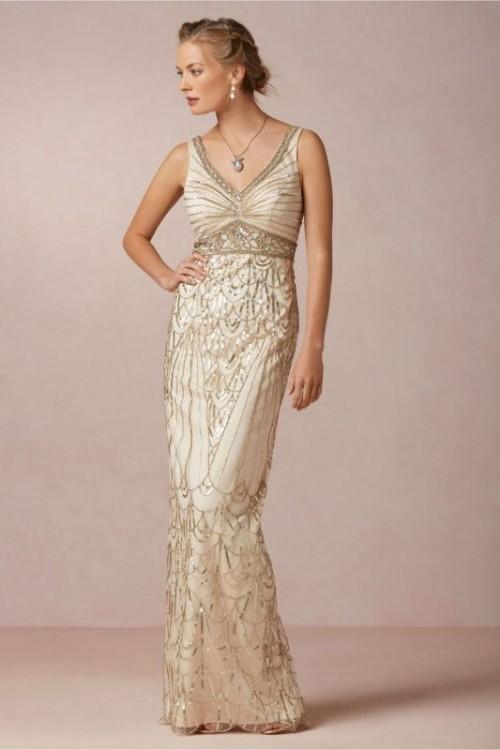 золотое свадебное платье, украшенное золотыми нитями