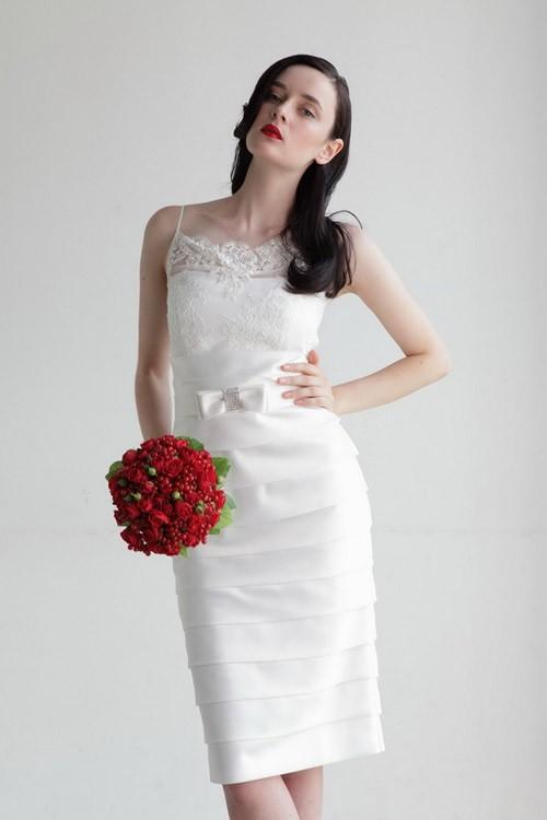 кружевное короткое свадебное платье: коллекция 2018 фото 32