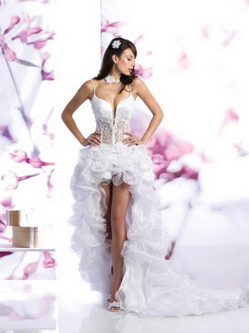 кружевное короткое свадебное платье: коллекция 2018 фото 34