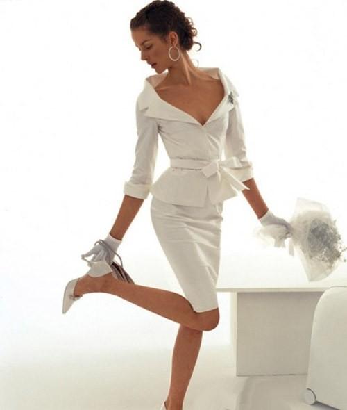 кружевное короткое свадебное платье: коллекция 2018 фото 29