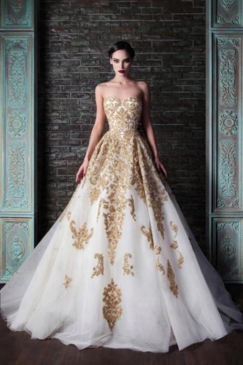 золотое свадебное платье с белым низом