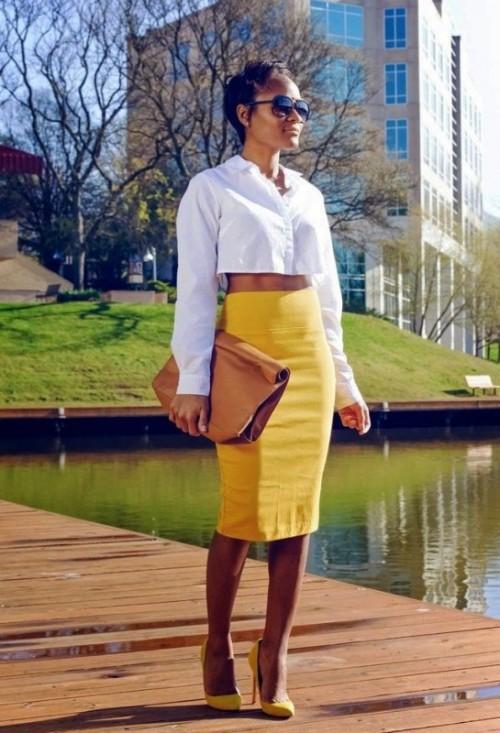 желтая юбка карандаш