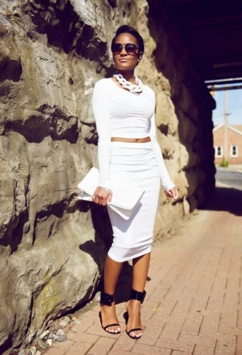 белая юбка карандаш  с белым топом