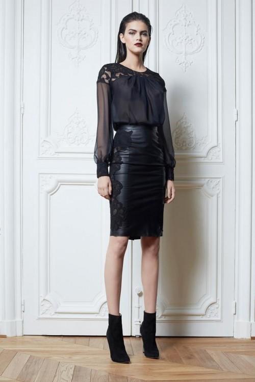 черная кожаная юбка с блузкой Zuhair Murad
