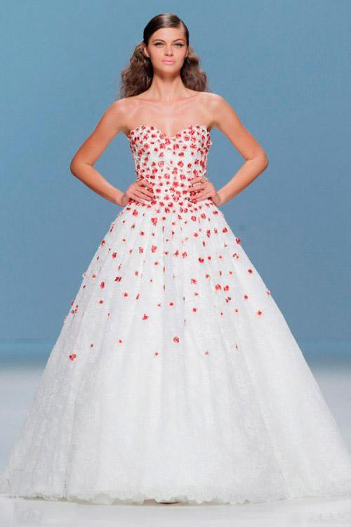 свадебное платье в мелкий красный цветочек Cymbeline