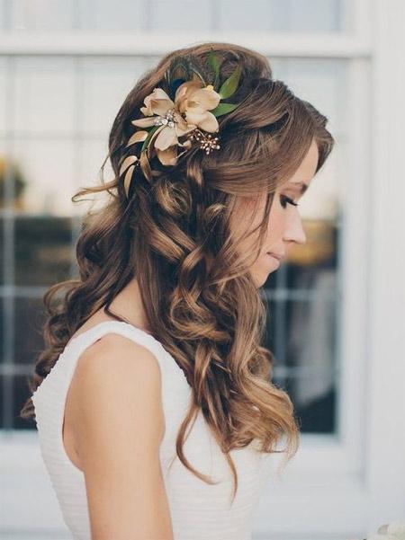 свадебная прическа на длинные волосы с цветами
