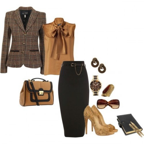 одежда и аксессуары для офиса в коричневых тонах