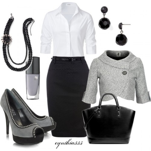 черно-белая одежда и аксессуары для офиса