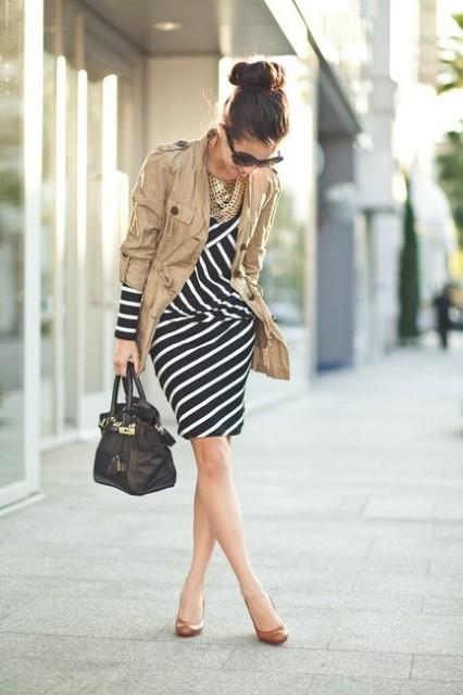 одежда для офиса черное платье в белую полоску