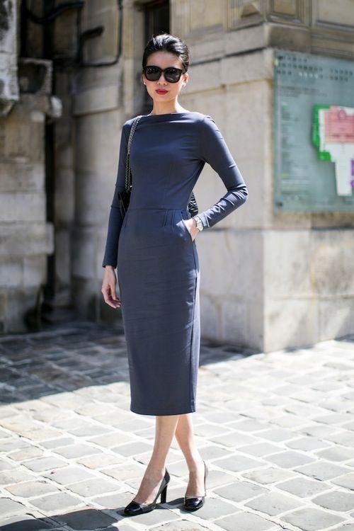 строгое синее платье для офиса