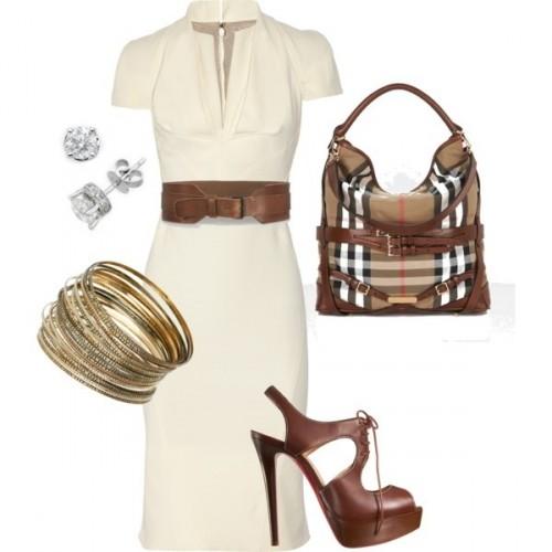 белое платье с аксессуарами  для офиса