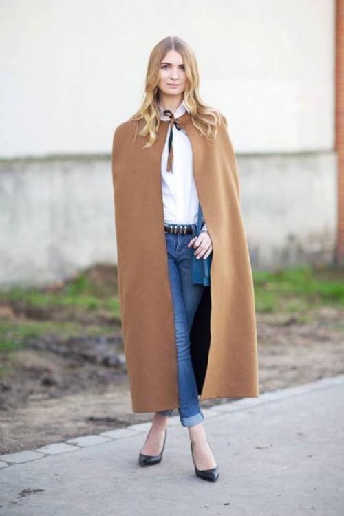 осеннее пальто-пончо