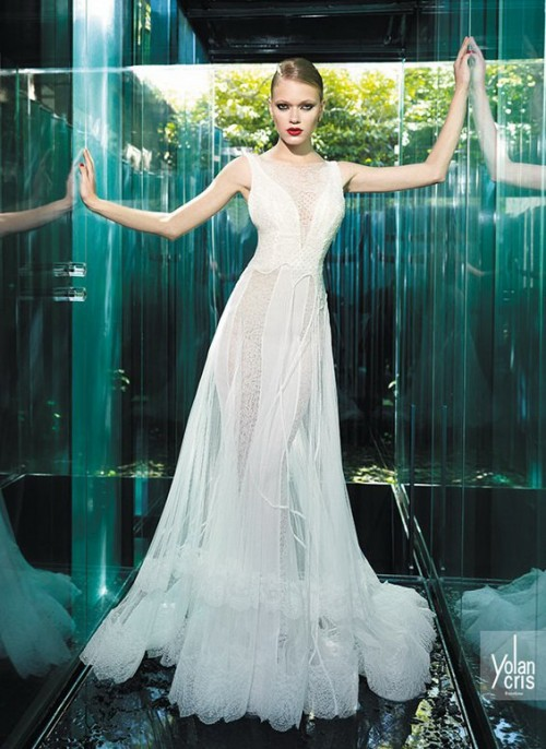 винтажное свадебное платье из прозрачной ткани