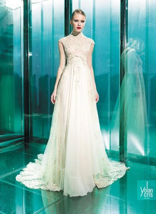 винтажное свадебное платье с закрытой горловиной
