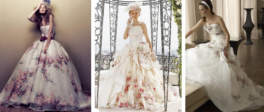 Свадебные платья для невесты с цветочным  принтом