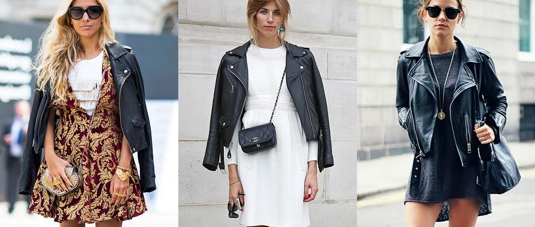 Кожаная юбка с курткой: модные образы